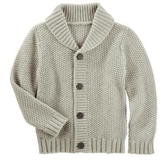OshKosh BGosh Little Girls Oatmeal Grey Pink Polka-Dot Knit Cardigan Button Sweater